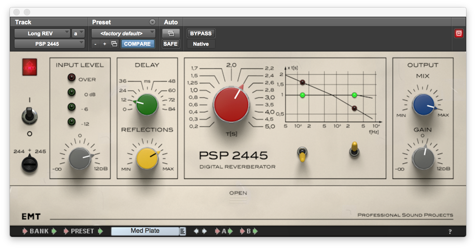 The PSP 2445 emulates the sound of two different EMT outboard reverb units