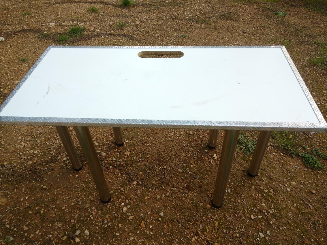 photo inter m mx 1424 ex table r gie dj bois corni res 6 pieds alu bross 1 1608941. Black Bedroom Furniture Sets. Home Design Ideas