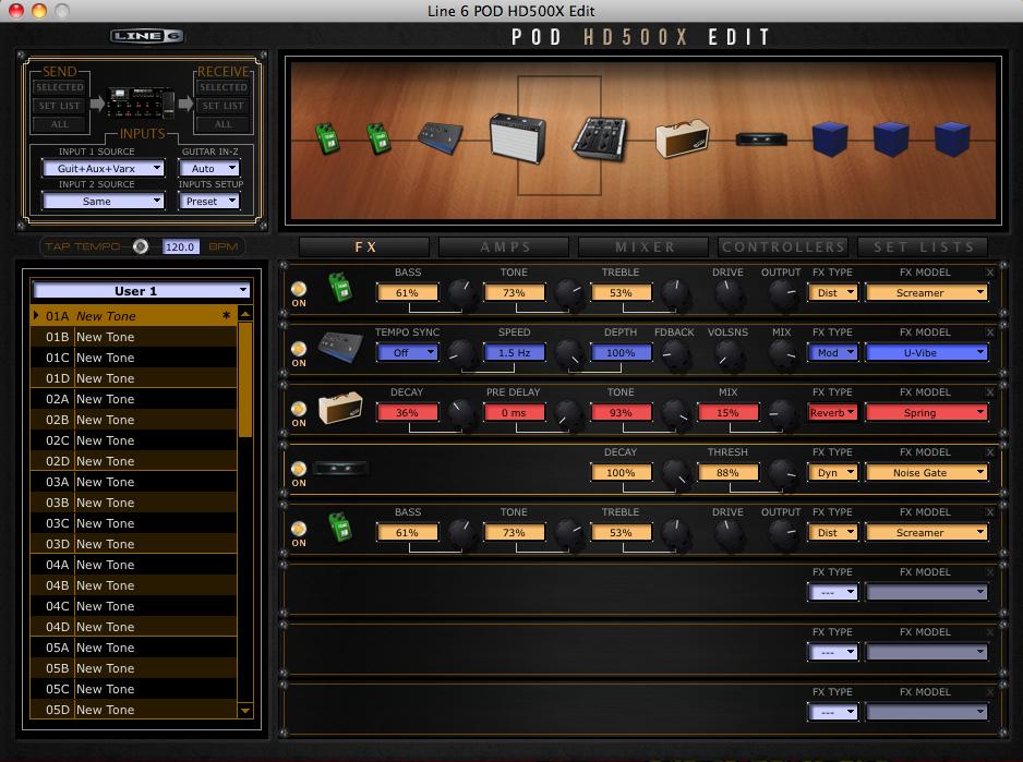 A test of the Line 6 POD HD500X guitar multi-effects processor