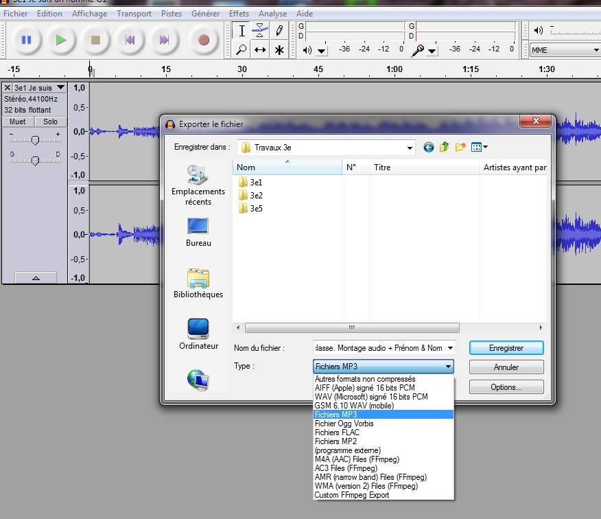 Photo Audacity Audacity 2 : Export MP3 sur Audacity ...