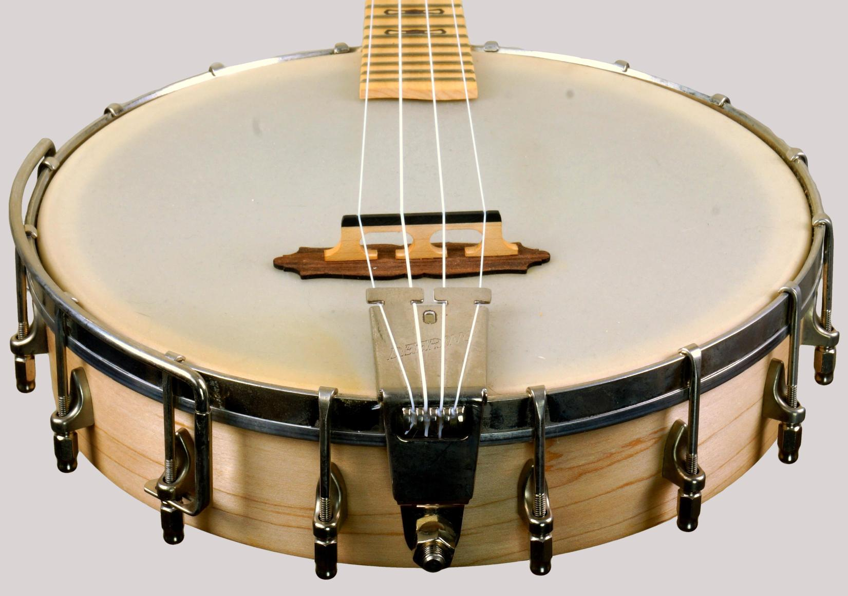 Deering Goodtime Concert Banjolele with an 11 inch drum