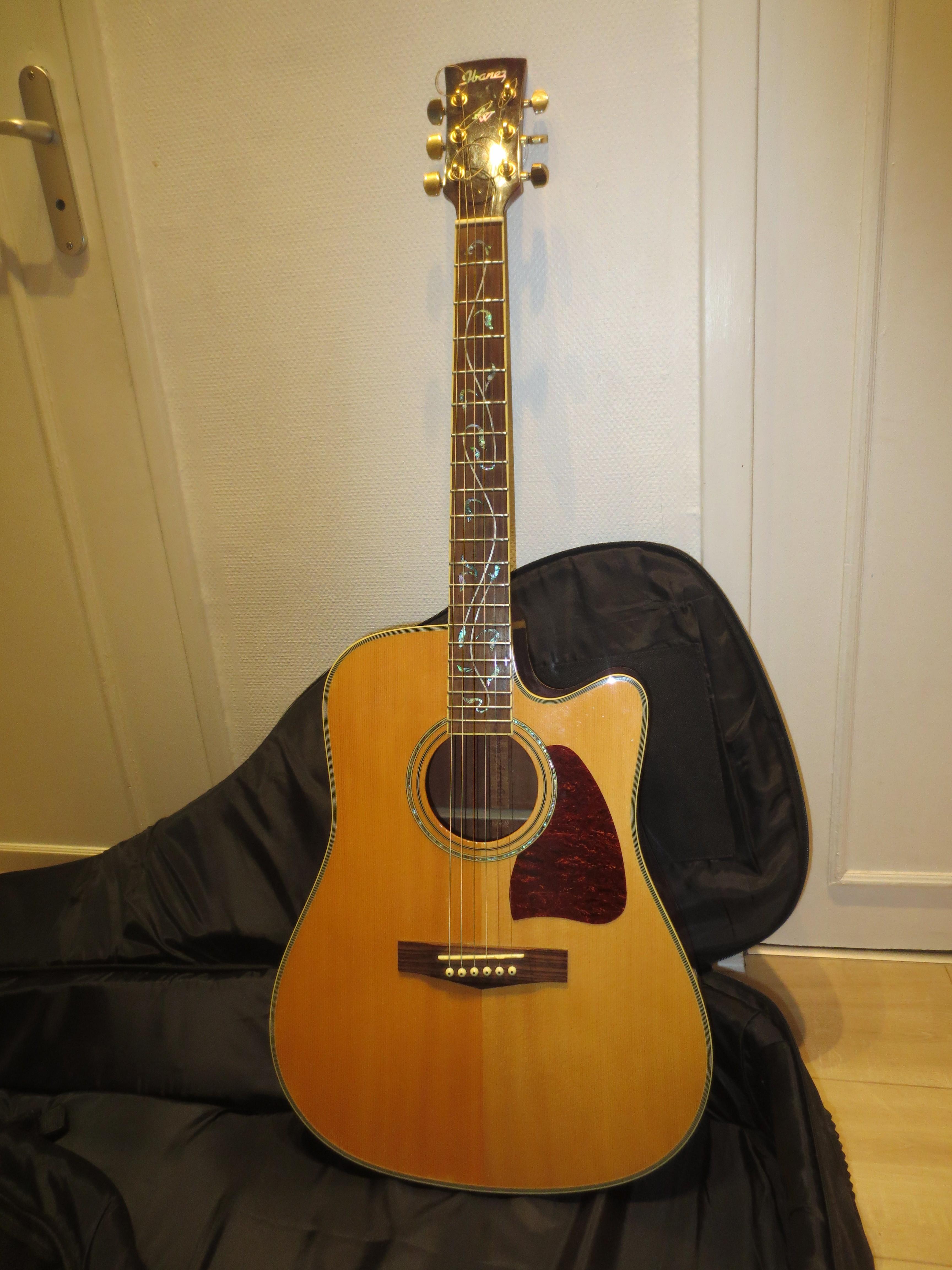 Guitare ibanez folk electro acoustique housse rh ne for Housse guitare acoustique