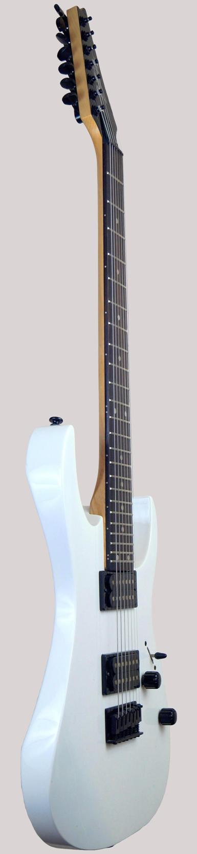 white solid electric Ibanez 7 string guitar at Ukulele Corner