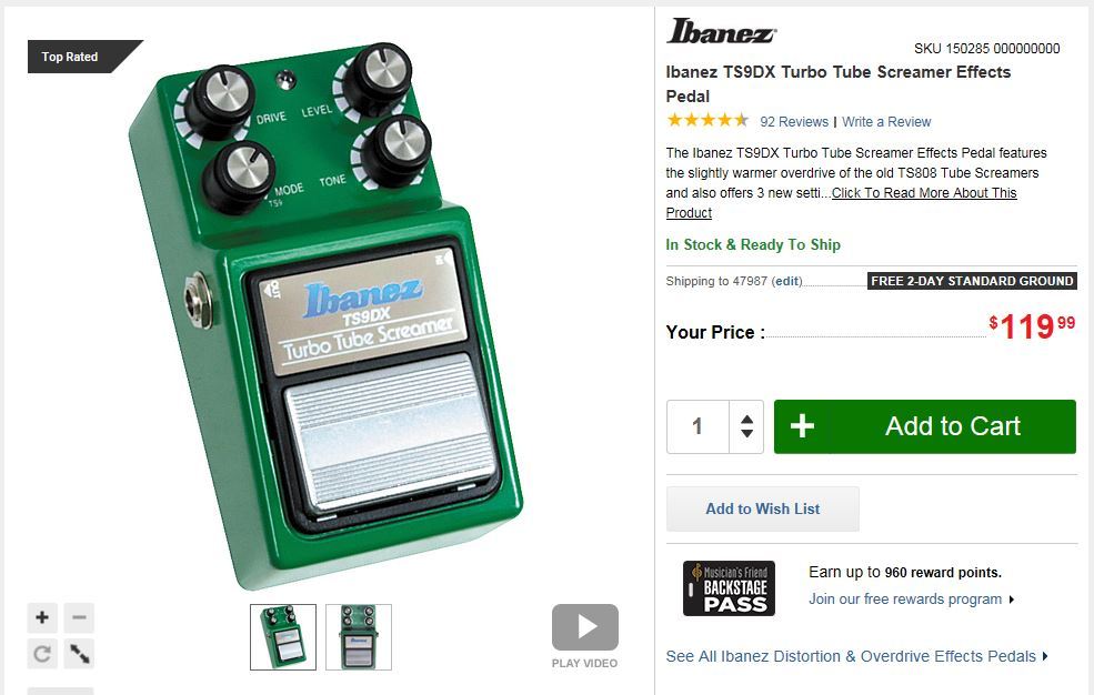 Great addition to the TS series! - Reviews Ibanez TS9DX