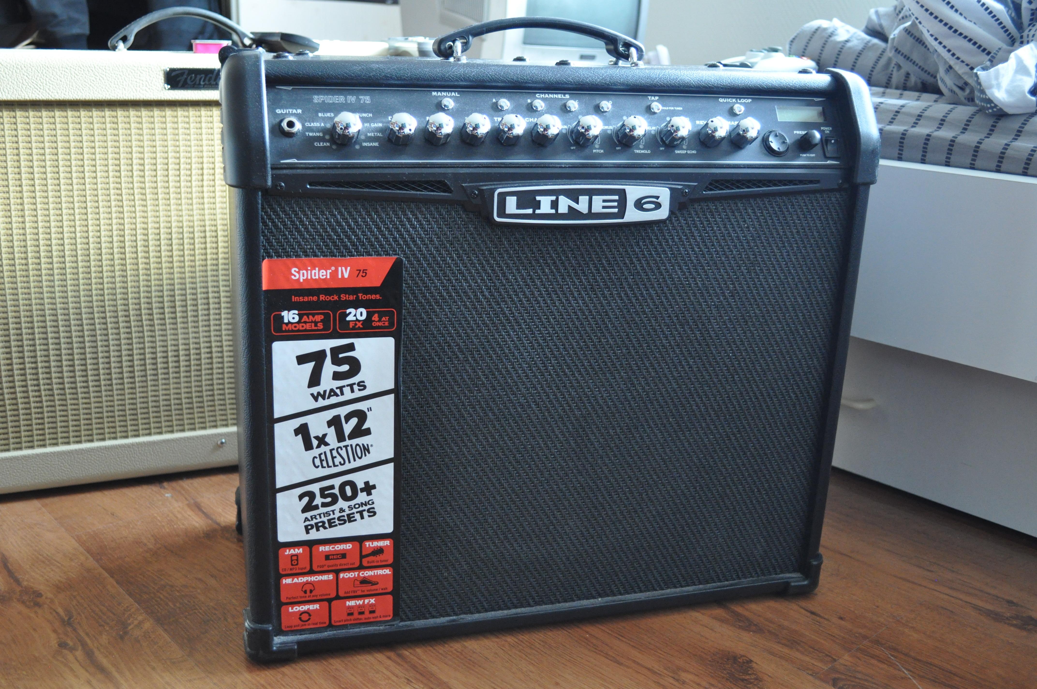 fs for sale ny line 6 spider iv 75 watt guitar amp. Black Bedroom Furniture Sets. Home Design Ideas