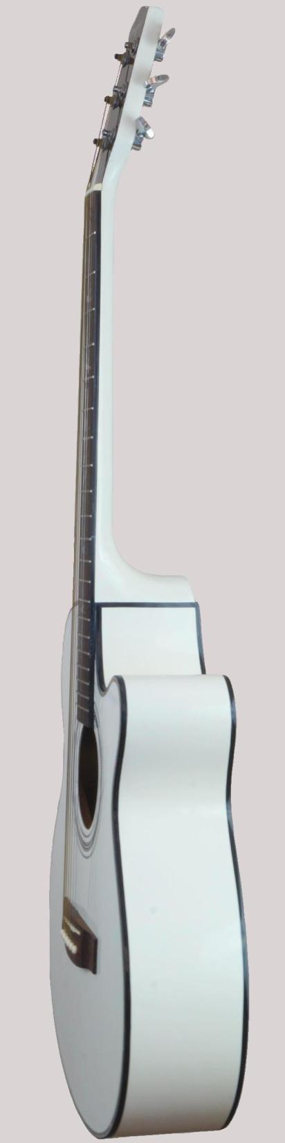 white chinese made acoustic guitar