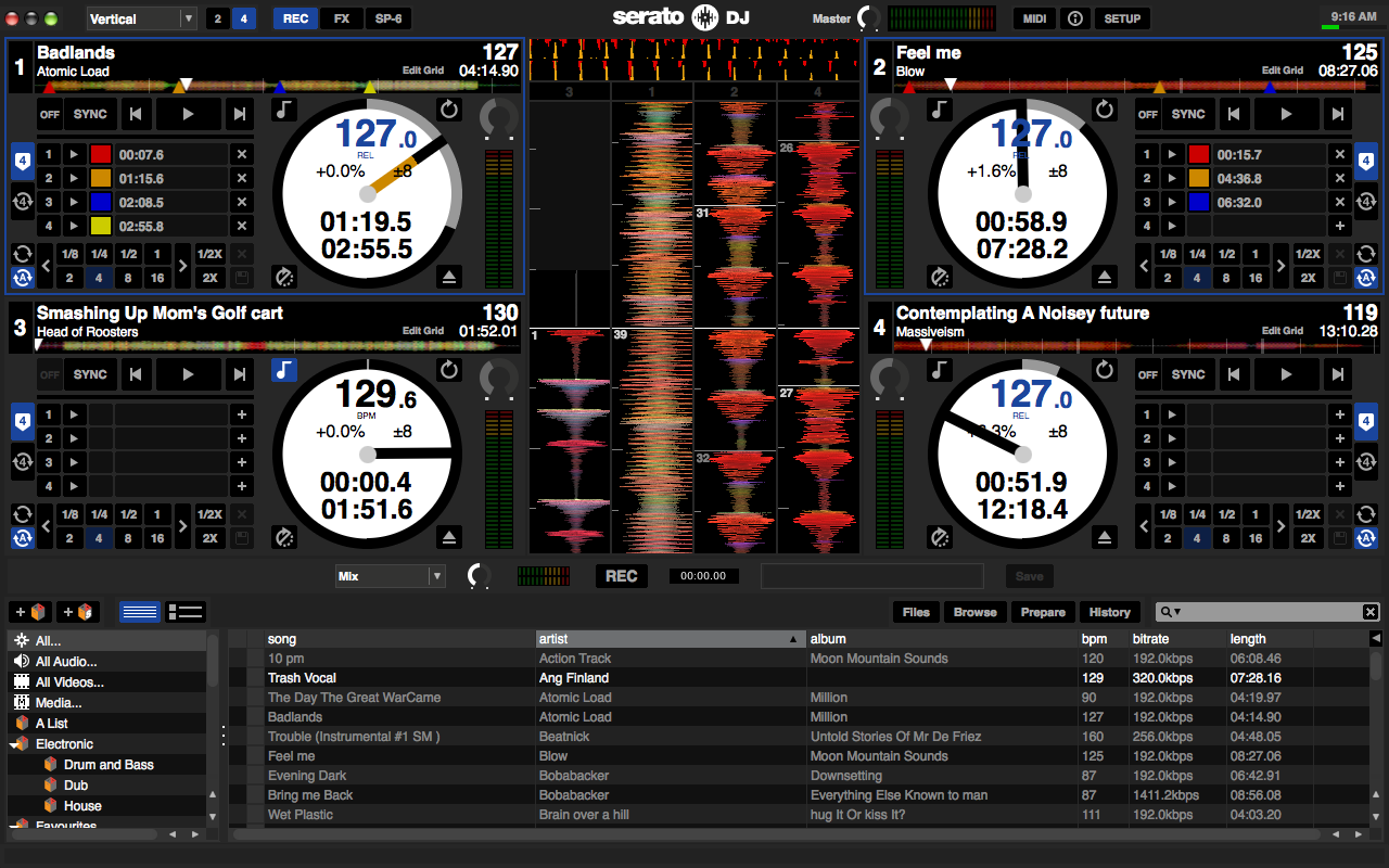 Photo Serato Dj 4 Deck View Vertical Waveforms Record