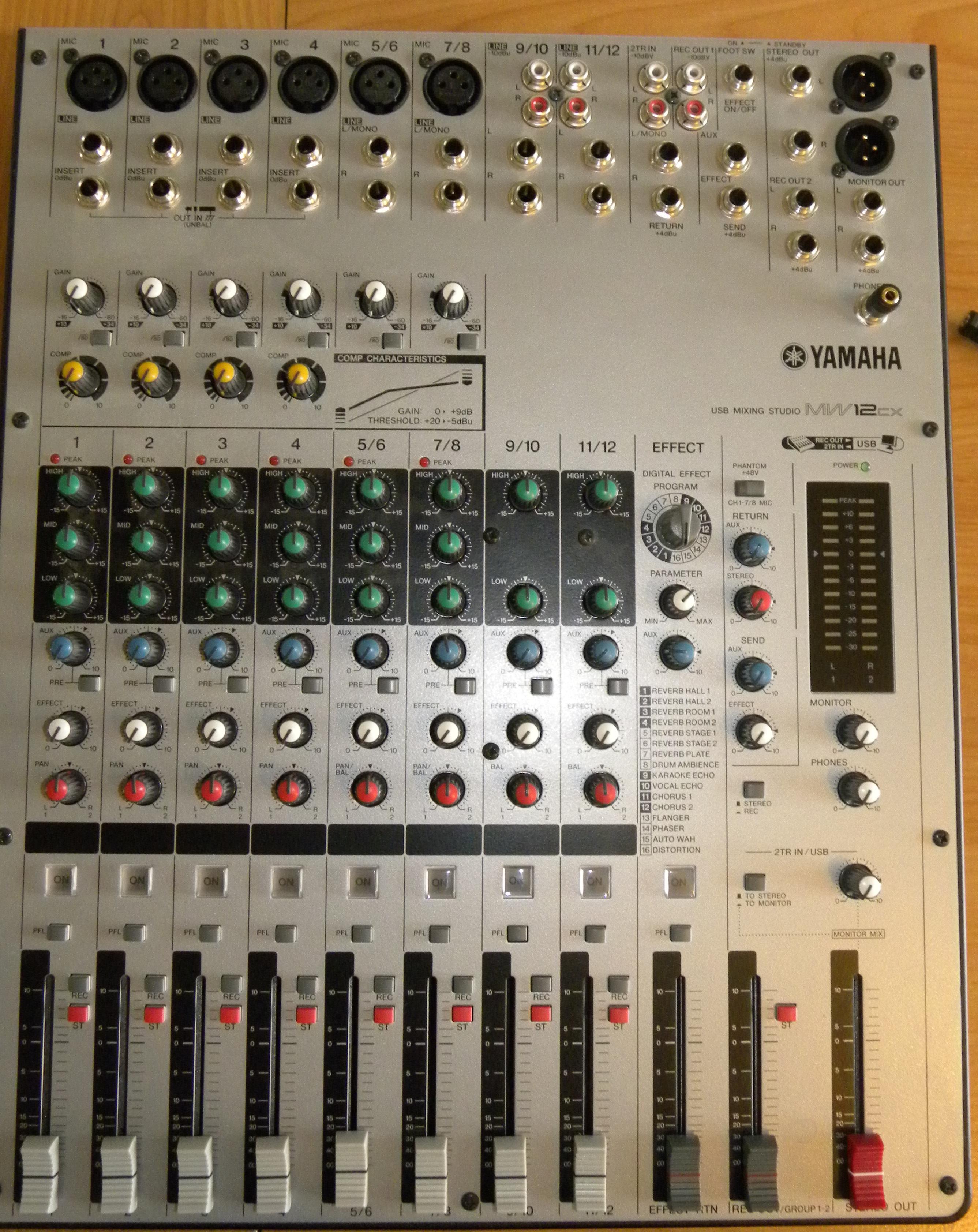 Yamaha Mw8 8-channel USB Mixing Studio Mixer W/user Manual MW8CX