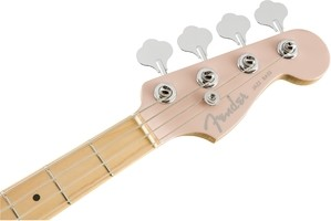 Flea Active Jazz Bass Head Stock Front   Satin Shell Pink