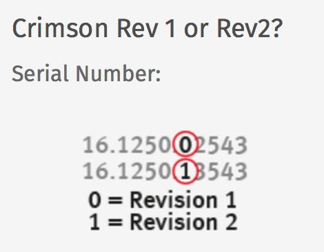 SPL Crimson : Crimson Rev1 or Rev2 serial number