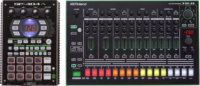 Roland TR-8 : Roland SP-404A avec la TR-8