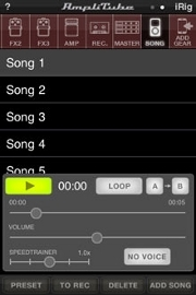 AmpliTube 2.2 for iPhone - Songs
