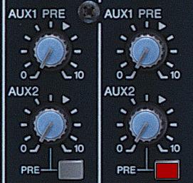 """El switch pre/post para el auxiliar se debe cambiar a """"pre"""" para usar con los monitores."""