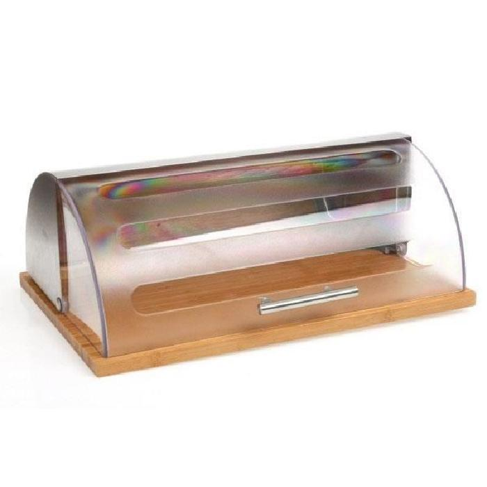 boite a pain inox bambou couvercle transparent
