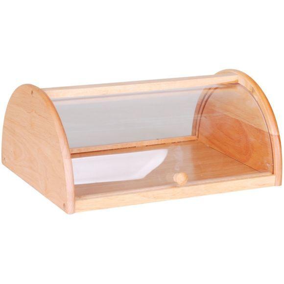 boite pain en bois avec couvercle transparent lever pas cher