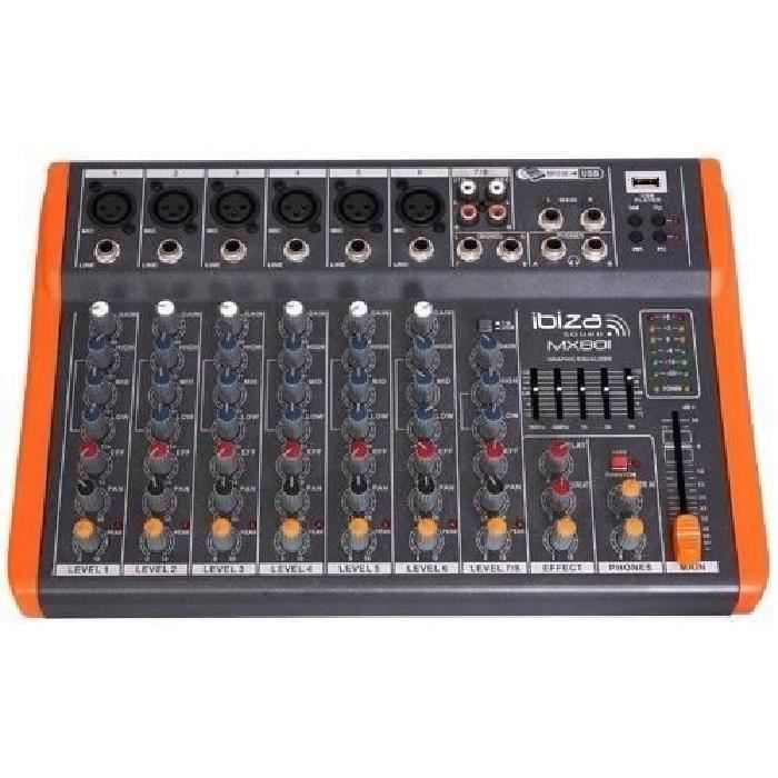 ibiza mx801 table de mixage musique a 8 canaux ext