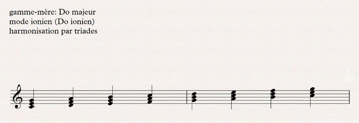 ionien harmonisation par triades