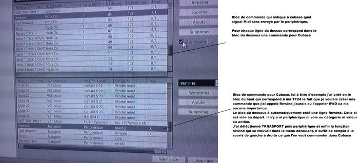 choix de la ligne de commande externe et la ligne de commande interna à cubase