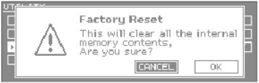 Integra 7 Factory reset confirm
