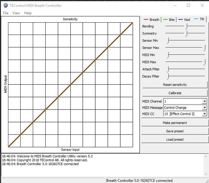 Sample Modeling French Horn and Tuba : 3 reglage dans le soft de chez tec ici le parametre Tilt control en cc13