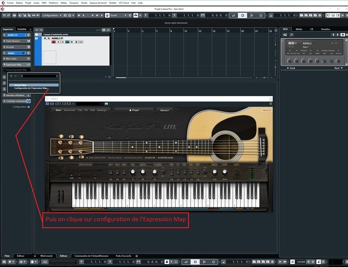 Steinberg Cubase Pro 10 : 2 on rentre dans le menu Expression Map