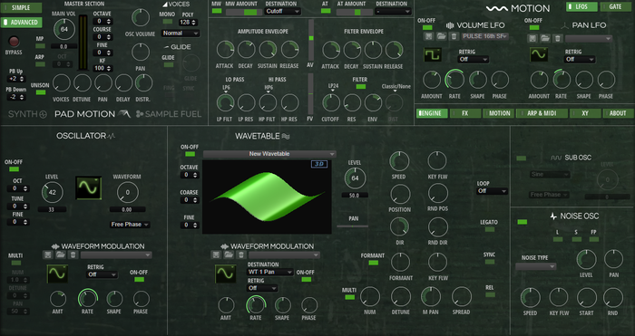 Pad Motion 3 Synth Page