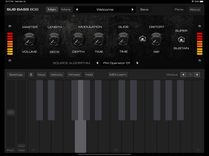 AudioKit Pro Bass 808 Synth : Bass 808 GUI