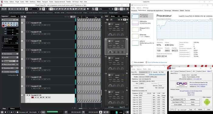AMD Ryzen 9 3900X : i9 avec UAD 117 piste seulement oc 4.9Ghz contre oc 5ghz avant memoire 3000mhz contre 2666