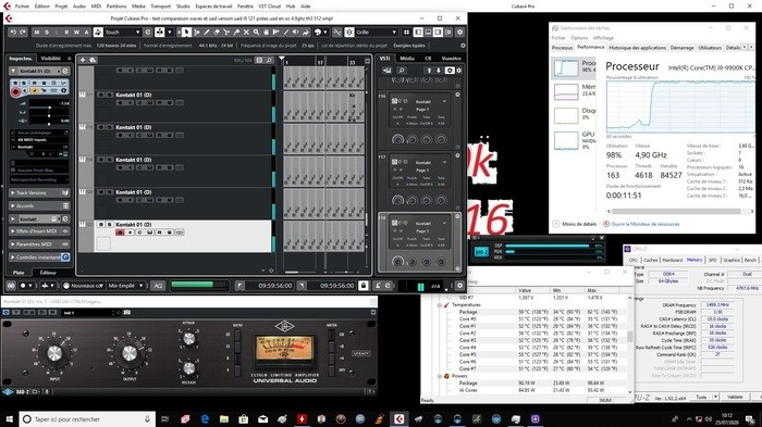121 pîstes avec uad intel i 9 9900k oc 4.9 ghz all core mémoire 3000Mhz Th3 256 samples temperature 59 degres