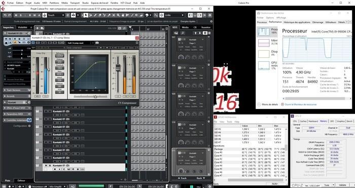 171 pistes avec waves intel I9 9900K oc 4.9 ghz all core mémoire 3000 Mhz 512 sample 13.696 ms 71 degres