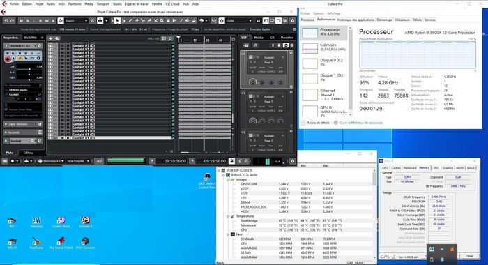 AMD Ryzen 9 3900X : 196 PISTE EN WAVES 3000 MHZ OC 4.3 TH3 512 SAMPLES