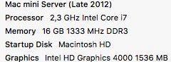 Apple Mac mini late-2012 core i7 2,3 Ghz (31011)