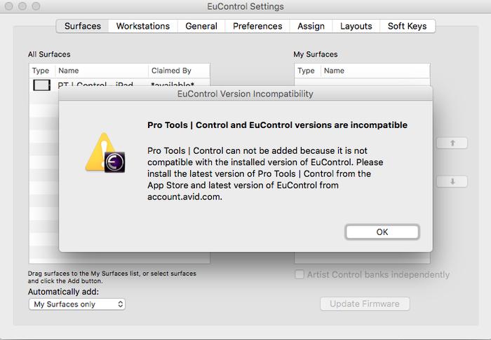 Problème connexion pro tools control - forum Avid Pro Tools 12