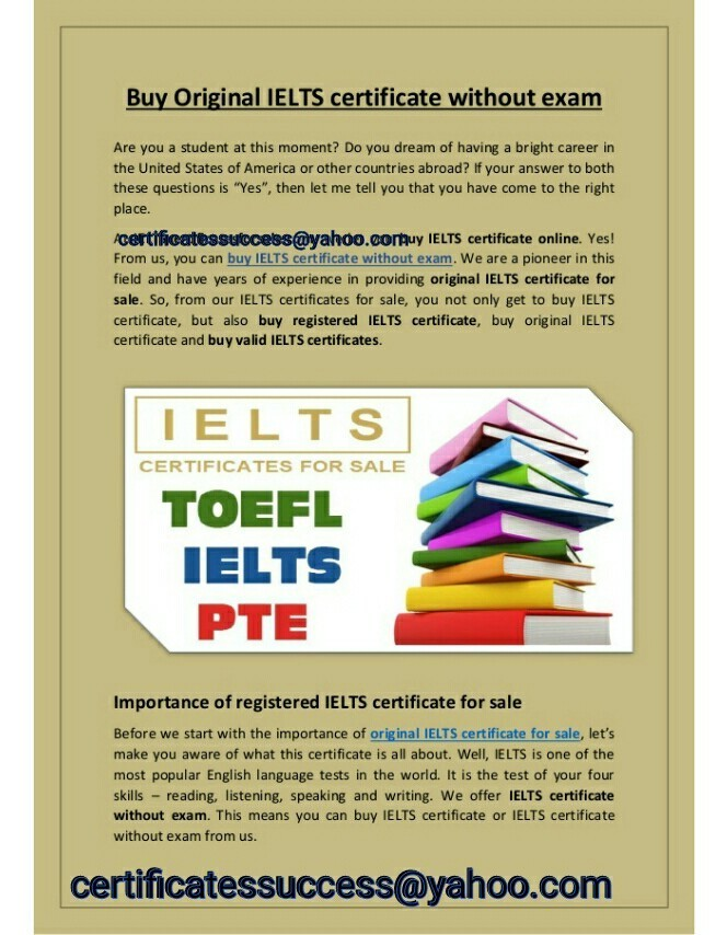 BUY IELTS TOEFL PTE GRE TOIEC pmp WITHOUT EXAM FOR IMMIGRATION