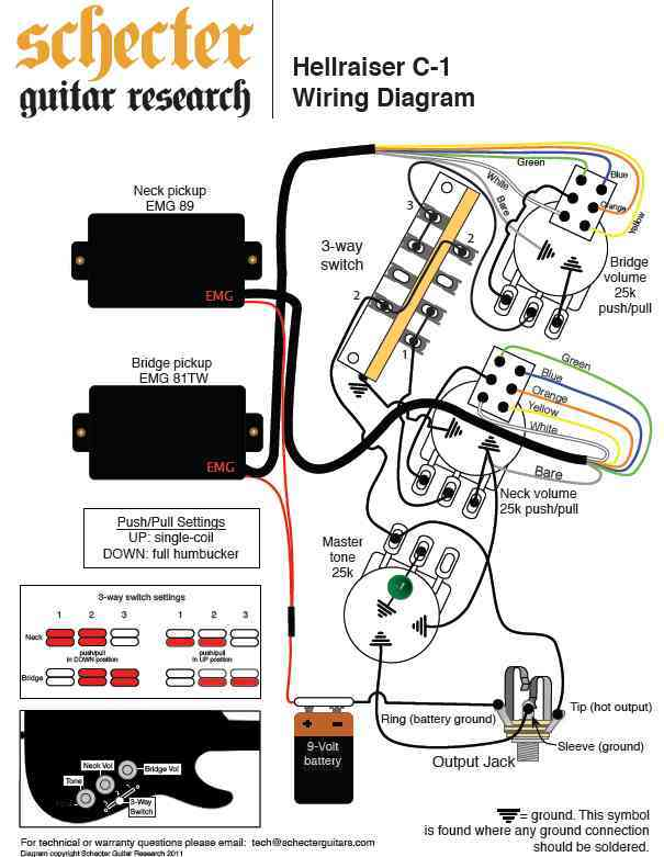 schecter hellraiser c 1 992752 schecter hellraiser c 1 image ( 992752) audiofanzine schecter wiring diagram at bakdesigns.co