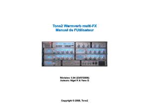 Tone2 Warmverb multi FX manual (FR)
