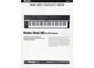 Brochure Rhodes Model 660 - 1989
