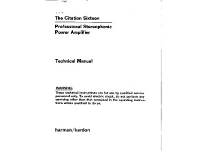 Harman Kardon Citation 16 Service Manual
