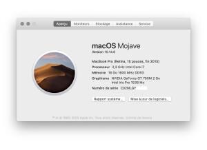 MacBook Pro Retina A propos