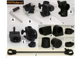 Supports toms , clamps pour rack batterie éléctronique ROLAND et YAMAHA TBE