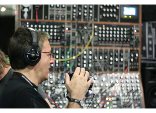 Mike Levine filming and Moog